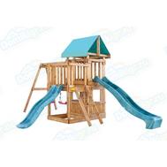 Игровая площадка BABYGARDEN с балконом, закрытым домиком и двумя горками, фото 1